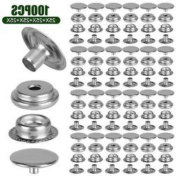 100PCS Stainless Steel Snap Fastener Kit for Boat Canvas Scr