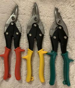 3 Workpro Aviation Snips 10-inch Red Blue Green Curved Left