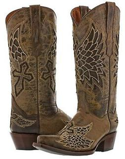 Womens Inlay Angel Wings Cross Leather Cowboy Boots Distress